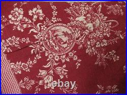 Restoration Hardware Christmas Pointed Tree Skirt Red Toile Birds Check Cottage