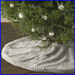 Restoration Hardware Luxe Faux Fur Christmas Tree Skirt MINK 58
