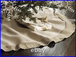 SUZANNE KASLER Ballard Designs Christmas Linen Velvet TREE SKIRT 2 STOCKINGS Set