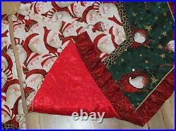 Santa with Leopard Skin Hat Christmas Fabric Handmade Finished Tree Skirt 58x66