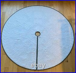 Star Christmas Tree Skirt Homespun Cotton Fabric Handmade Quilted Quilt 58 1/2