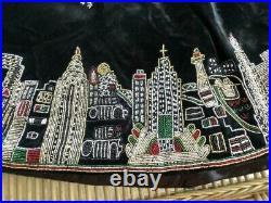 Sudha Pennathur NWT Blaclk Velvet NEW YORK CITY SKYLINE TREE SKIRT ($1395) withtax