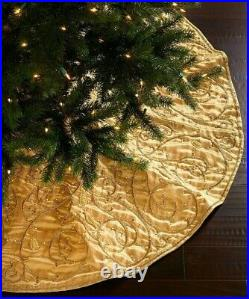 Sudha Pennathur Partridge Beaded Embroidered Christmas Tree Skirt Gold New $500