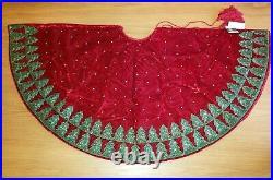 Sudha Pennathur Red Velvet Beaded Embroidered Christmas Tree Skirt Treeline New