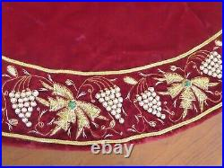 Sudha Pennathur Red Velvet Gold /white Beaded Trim Tree Skirt With Original Tag