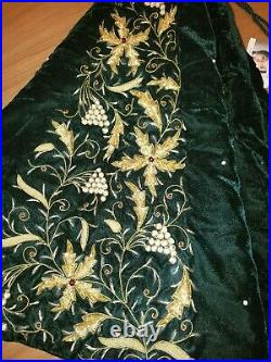 Sudha Pennathur Velvet Beaded Embroidered Christmas Tree Skirt Green New $695