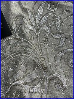 TAHARI NEW! BEADED 50 CHRISTMAS Tree Skirt GRAY SILVER 50 Embellished LUX