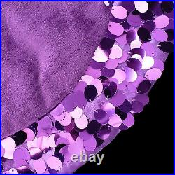 Table Top Christmas Tree Skirt / Purple Sequin Trimmed