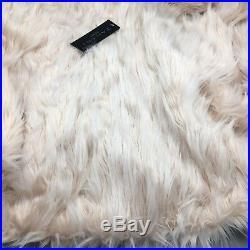 Tahari Luxury Faux Fur 60 Christmas Tree Skirt Blush Pink Eyelash Shag Designer