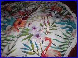 Tropical Pink Flamingo Christmas Tree Skirt 5 Ft Round Only Two With White Trim