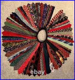Upcycled mens necktie Christmas Tree Skirt vintage & recycled for the holidays