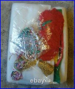 V. Rare HUGE Vintage Bucilla Santa's Christmas Tree Jeweled Tree Skirt Kit #1877