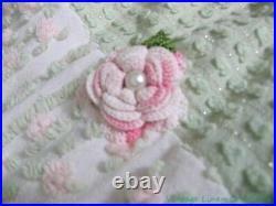VINTAGE COTTAGE PINK ROSEBUD Chenille CROCHET Roses CHRISTMAS TREE SKIRT