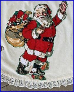 VTG 1950's Christmas Tree Skirt Santa Handmade Train Kitten Appliqué Lace Lined