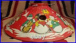 Vintage 1950's 20 inch Metal Tin litho Snowman Christmas Tree Stand/skirt