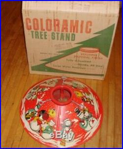Vintage 1950's Metal Tin Snowman Christmas Tree Stand/skirt, Box, EXCELLENT