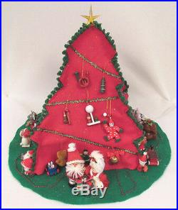 Vintage 1978 Nowell's Mold Ceramic Light Up Christmas Tree Skirt Cover Figures