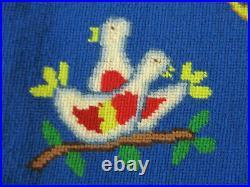 Vintage 1981 Handmade Needlepoint Wool Tree Skirt 12 Days of Christmas HEIRLOOM