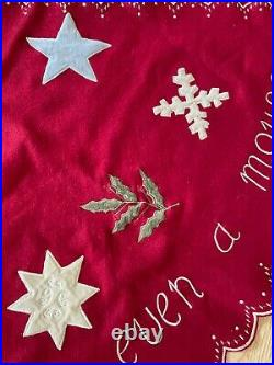 Vintage 1990s Anthropologie Red Embroidered Christmas Tree Skirt 55
