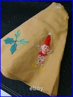 Vintage 3D Elves Christmas Tree Skirt Made In Japan Rare Color