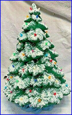 Vintage Ceramic Christmas Tree Light Up Snow 17.5 With Blue Skirt Base