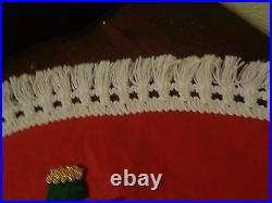 Vintage Christmas Tree Skirt Felt Applique Brooch Pins Sequins Handmade