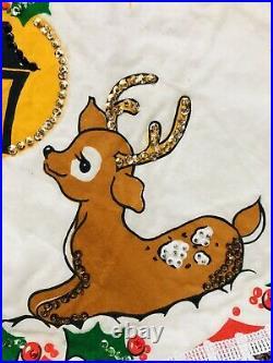 Vintage Christmas Tree Skirt Handmade Beaded Sequins Santa Reindeer Kitsch