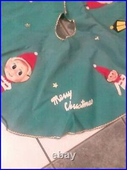 Vintage Felt Christmas Tree Skirt 32 Pixies/Elves 1950s