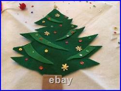 Vintage Felt Elf Elves Pixie Christmas Tree Skirt 38 White Appliqués Sequins