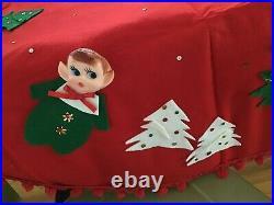 Vintage Felt Pixie Elf Elves Christmas Tree Skirt Xmas doll plastic elf face