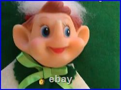 Vintage Felt Pixie Elf Elves Christmas Tree Skirt Xmas plastic elf face