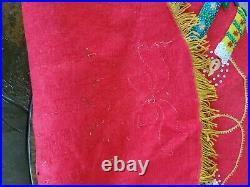 Vintage Felt Sequin Christmas Tree Skirt Tablecloth Bells 33