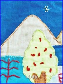 Vintage Handmade Christmas Tree Skirt Nativity Scene, Llamas, Cat, Santa, Animal