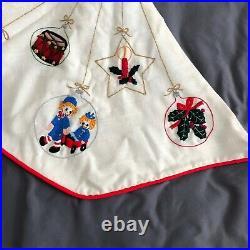 Vintage Handmade Christmas tree skirt Ornaments Crewel Embroidered