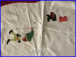 Vintage Handmade Felt Christmas Tree Skirt Sequins Elves Santa MCM Tablecloth
