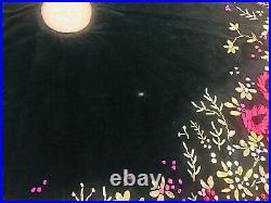 Vintage LOIE RIBBON CHRISTMAS TREE SKIRT Victorian Green Velvet GUMPS DEPT STORE