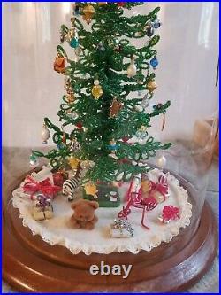 Vintage Westrim Beaded Mini Christmas Tree 40+ ornaments skirt train Glass Dome