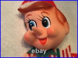 Vintage large Felt Elf Pixie Elves Christmas Tree Skirt 54 Restored