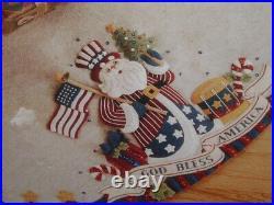 Vtg Bucilla Patriotic Santa Christmas Felt Tree Skirt God Bless America RARE LK4