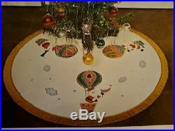 Vtg Bucilla Up & Away Balloon Jeweled Tree Skirt Kit 8016 1970 Mid Century Xmas
