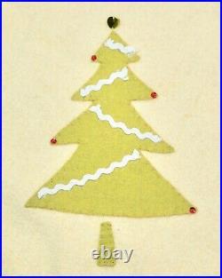 Vtg Custom Made Wool Applique Christmas Tree Skirt Glass Beads Sequins 21 Deep