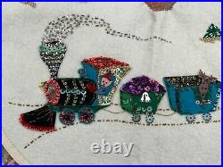 Vtg Felt Xmas Tree train Skirt Beads Sequin Aluminum Twisted Foil Garland Tinsel