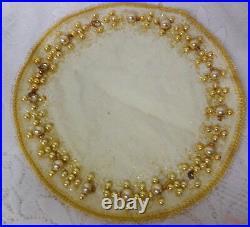 Vtg Skirt For Small MINI Xmas Feather Tree Mercury Glass Ornaments Centerpiece