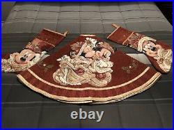Walt Disney World Christmas Tree Skirt With Matching Mickey And Minnie Stockings