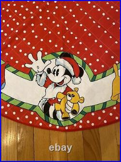 Walt Disney co rare CHRISTMAS TREE SKIRT Mickey Mouse holding teddy bear vintage