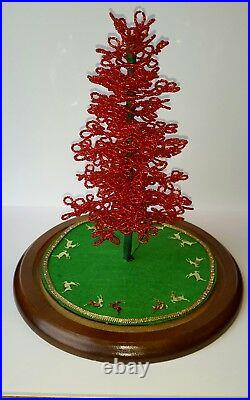 Westrim Beaded Mini Christmas Tree RED Ready to decorate, with Base & Skirt